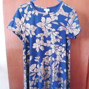 LuLaRoe Elegant Carly XS - Blue/Gold Floral